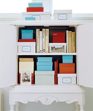 labeled colored boxes in bookcases via realsimple Organizing with Shelves and Bookcases