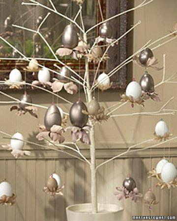 silver easter tree via martha Easter Egg Trees
