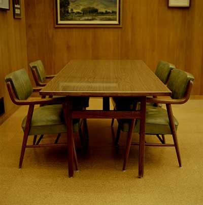 wood paneled boardroom via howstuffworks Why Men Fear Painting Wood