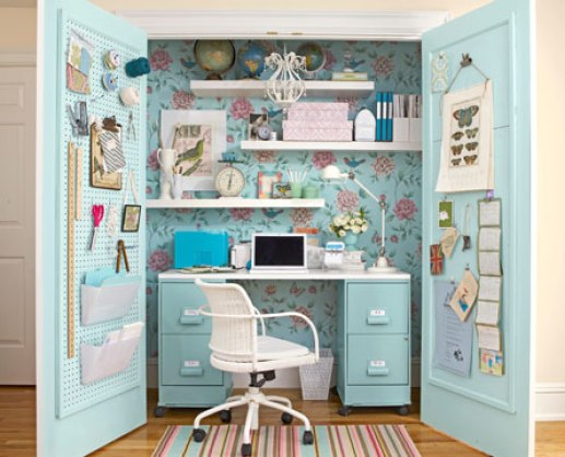 blue office closet via country living The Closet Office