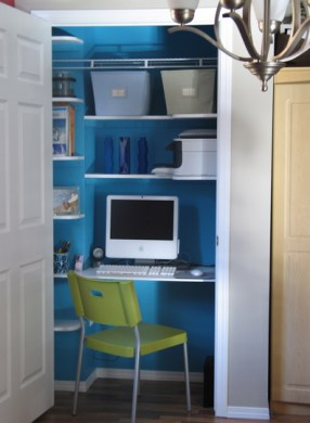 blue office closet via theofficestylist The Closet Office