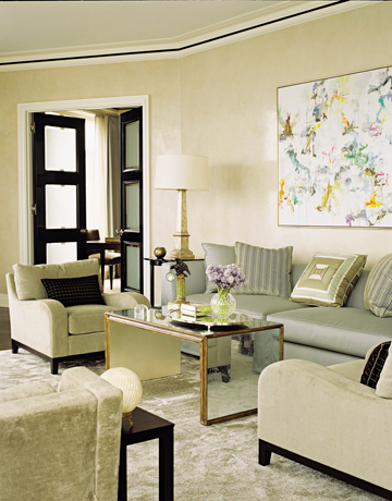 living room spa blue and cream via hb House Beautiful Living Rooms