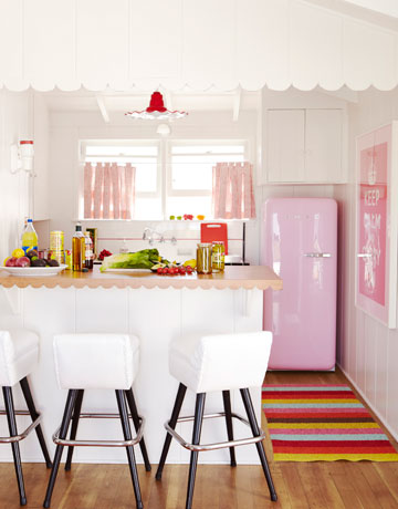 pink kitchen via hb Colorful Beach House