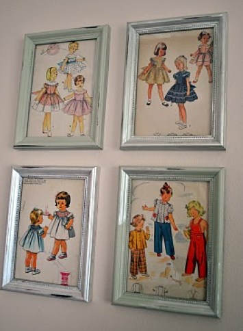 vintage sewing patterns framed shellyinspired blogspot Highlights from A Neighborhood Home Tour