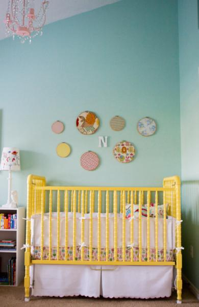 yellow and aqua nursery via decorpad Gender Neutral Nurseries