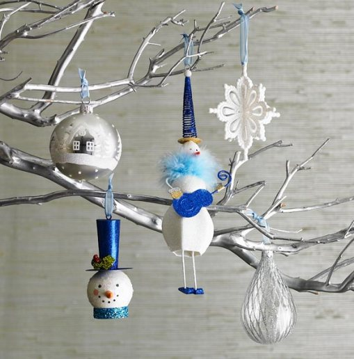 bluewhite ornaments on spray painted branch via pier1 Christmas Decor Branches Out