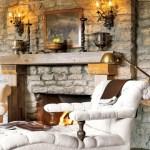 stone sconce mantel fireplace via cl