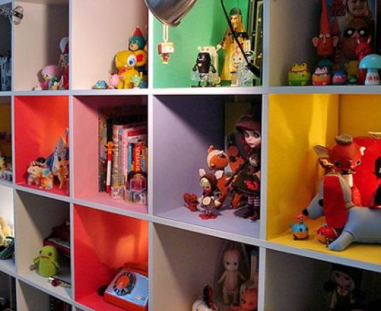 ikea bookcase painted interior via at IKEA Bookcases   So Many Ways to Use Them!
