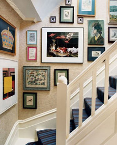art stairwell via domino Walking Up Your Stairs Should Be a Happy Experience