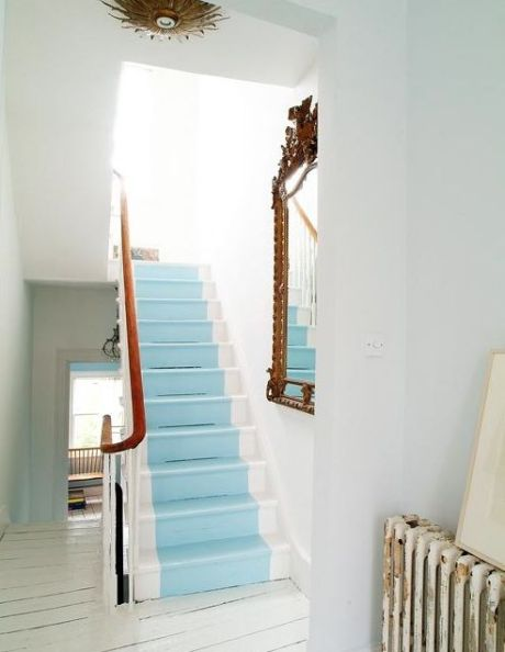 Blue White Painted Stairs Domino Take A Chance On Your Stairs