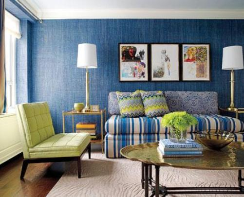 blue and green living room jamie drake So, Will You Do Inky Blue?
