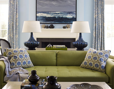 green sofa blue room via hb Obsessed with Blue & Green