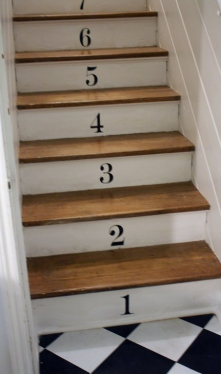 numbered stairs holly mathis interiors via a case of the mundays blogspot 682x1024 Take A Chance On Your Stairs