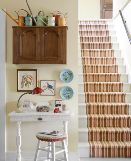 striped stair runner via cl Take A Chance On Your Stairs