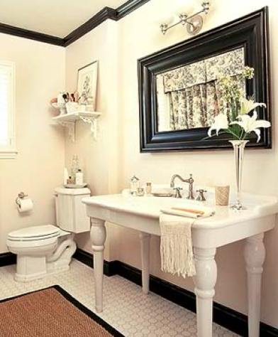 BlackMoulding in bathroom via the lettered cottage Who Said That You Have to Paint Trim White?