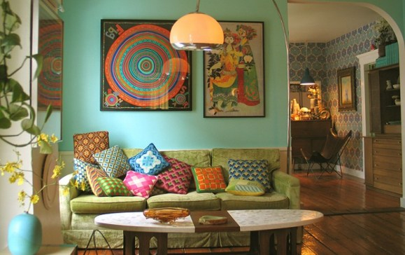 living room pillows retro color Bohemia   Where Hippy Chicks Rule