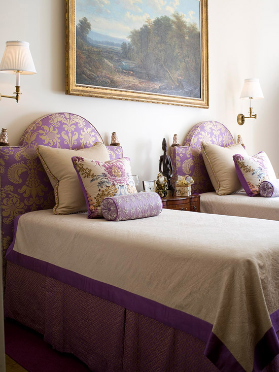 sconces purple bedroom via bhg An Explicit Discussion About Lighting by The Decorologist