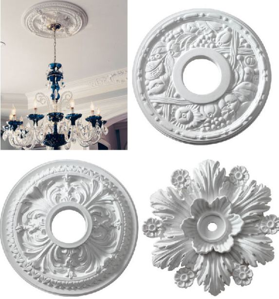 ceiling medallions via blog arcadianhomedecor Add a Little Something to Your Ceiling