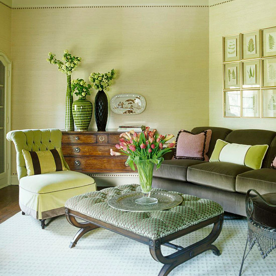 green living room via bhg The Truth About Men & Decorating