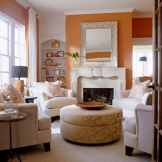 orange living room via bhg The Truth About Men & Decorating