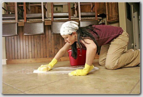 woman cleaning ceramic tile floor via missionstonetile The Truth About Men & Decorating