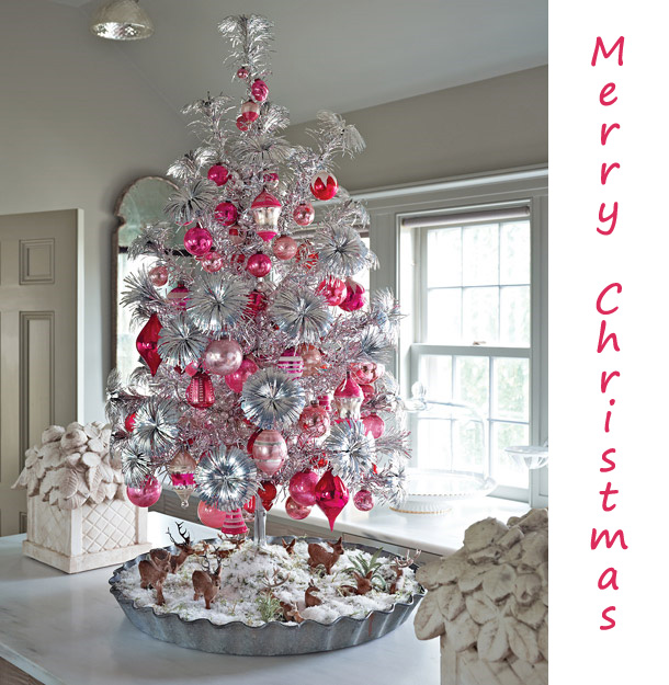 silver pink christmas tree via thelennoxx Oh Christmas Theme, Oh Christmas Theme . . .