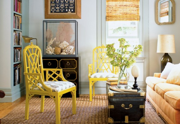yellow chair elle decor Nashville Interior Decorator Weighs In:  Whats Out in Design Trends