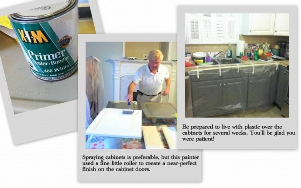 collage1 600x375 Painting Melamine Kitchen Cabinets