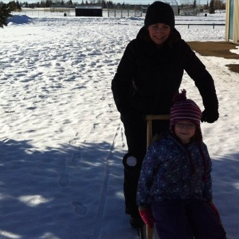 Testing out the kick sleds!!! Fun! #sled #winter #kids #mush