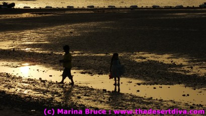 beachcombing at sunset