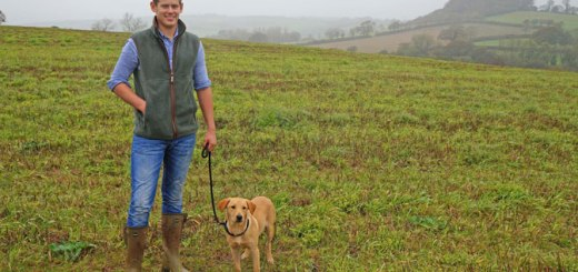 Ross Birkbeck with his dog on the land he is leasing at Peek, Dartington. courtesy of Will Carrodus.