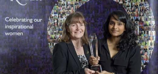 Professor Angela Shore, Interim Dean of the University of Exeter Medical School, presents the Quintiles Women in Science Prize to Medical student Praveena Deekonda. Courtesy of Steven Haywood