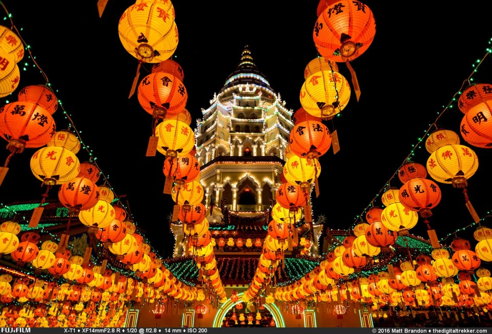 The Kek Lok Si temple in Penang, Malaysia all lit up for Chinese New Year.