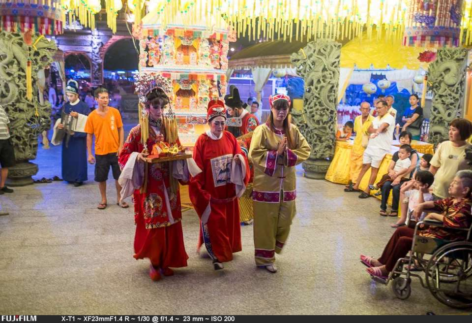 The Chinese drama under the yellow lanterns. Not the best lighting.