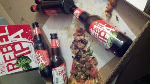 Just another day of pizza and beer