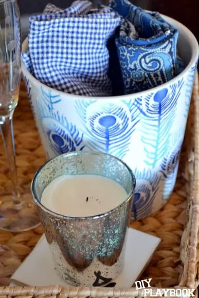 candle and napkins