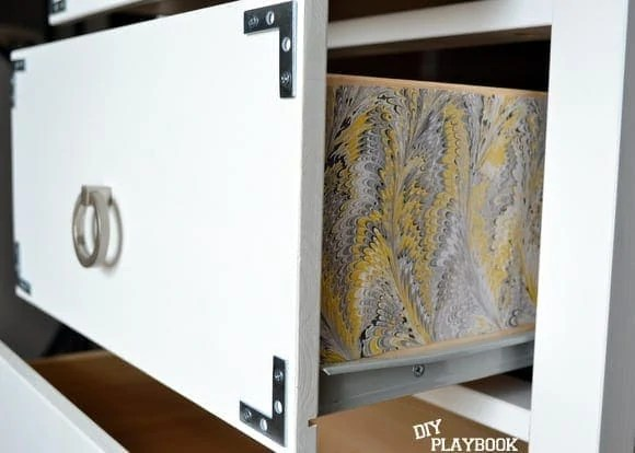 wrapping paper in drawers