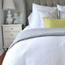 White-Bed-Gray-Headboard