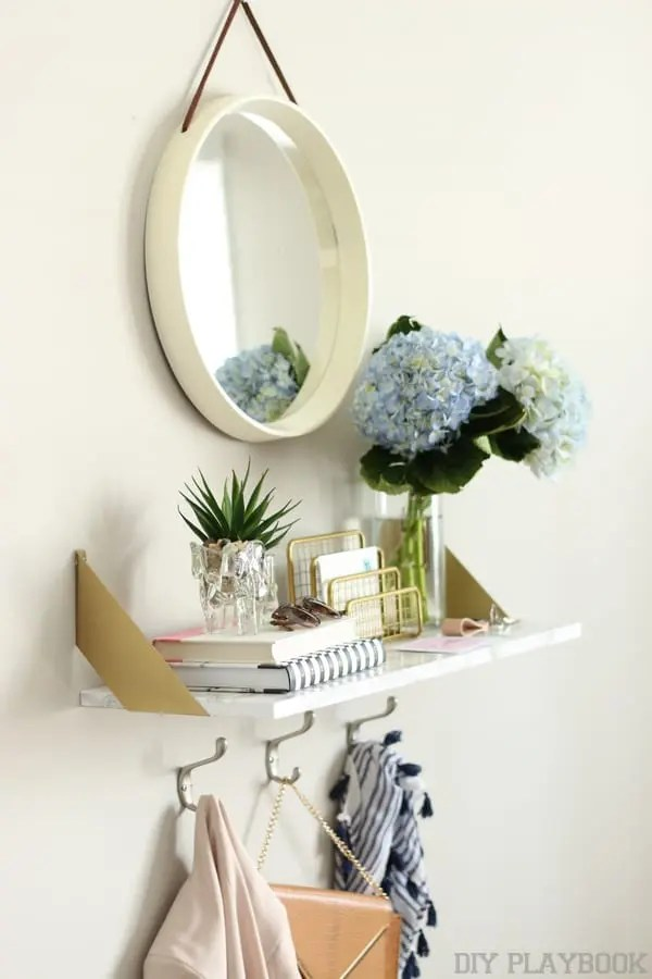 entryway diy gold shelf