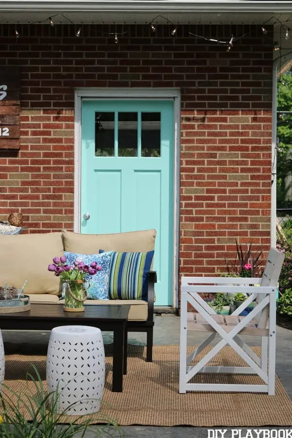 Patio Reveal with Blue Door