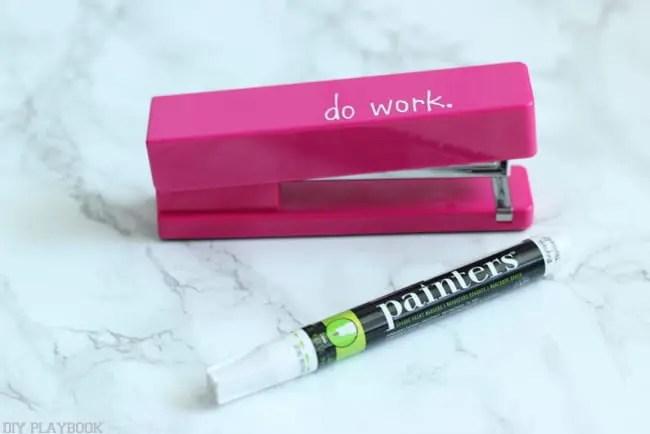 pink stapler office supplies paint pen