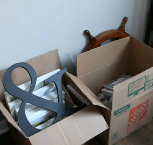 boxes on the floor