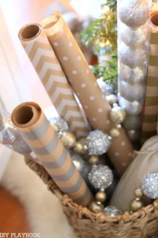 Christmas Gift Wrap Basket