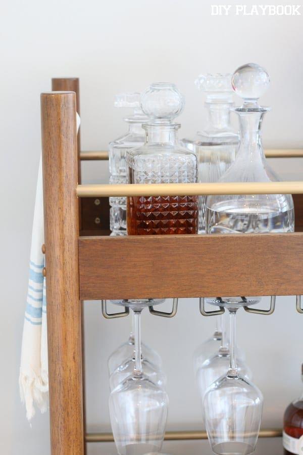 2-glass-decanters-bar-cart