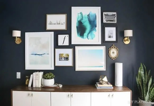 guest-room-gallery-wall-champagne-sign