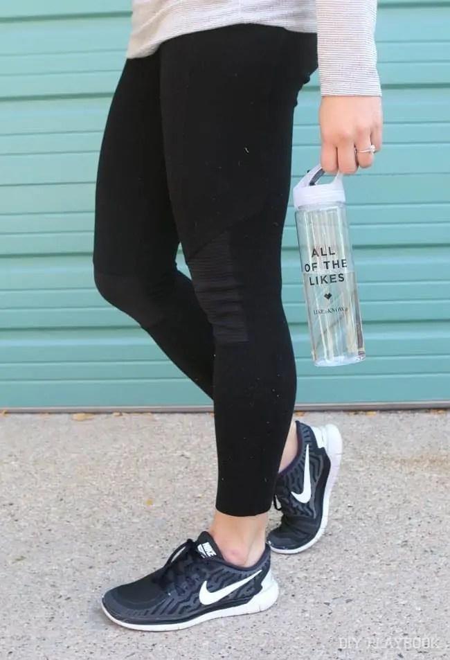 water-bottle-nike-gym-shoes-leggings