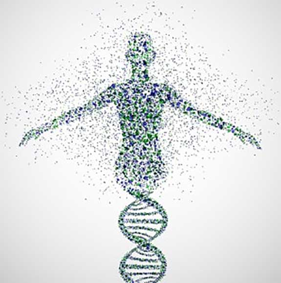 Person blurring into dna (from Dr. Bonnie 360)