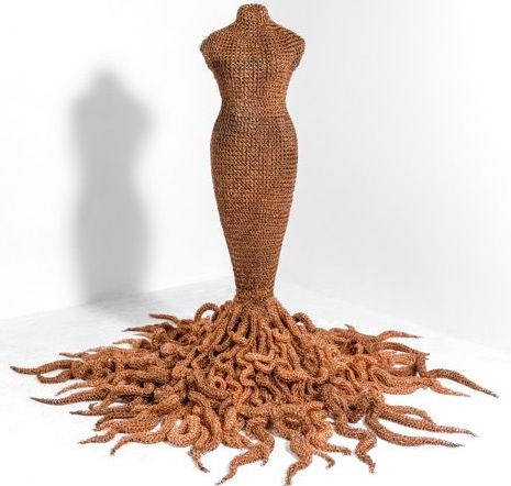 Medusa, handmade copper chain mail