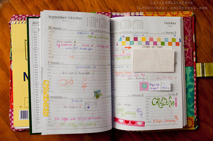 filofax inspired diary layout