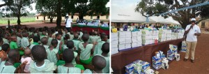 OUUSA donating writing materials to schools